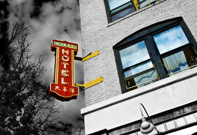 Callan Hotel sign on the corner of 5th and Island Ave.