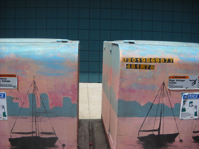 Twin painted utility box art at corner of Scott St. & Canon in Point Loma.