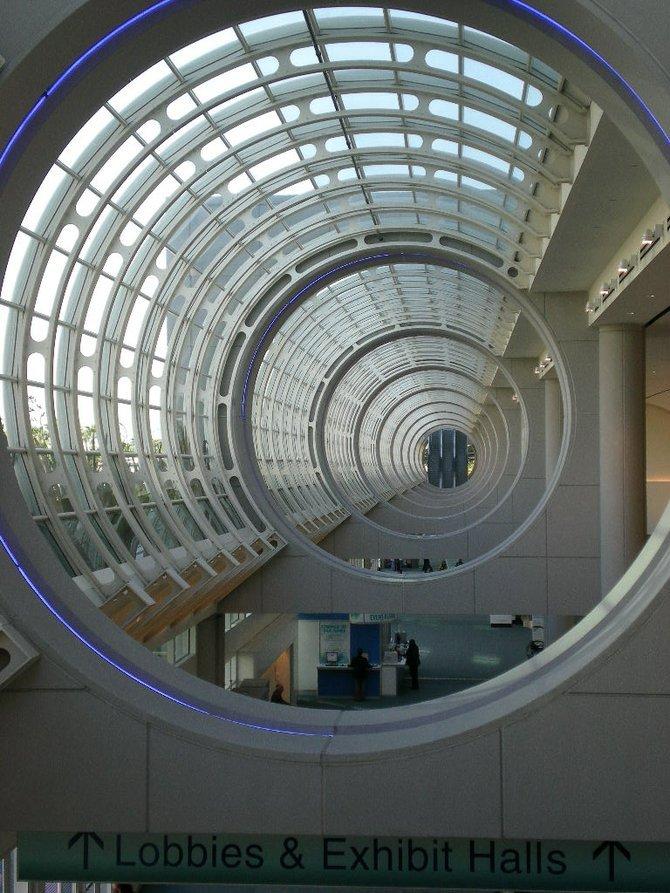 Inside the convention center.