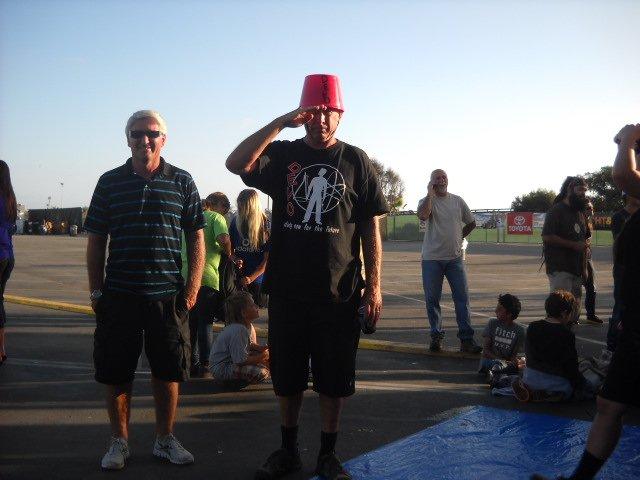 A bucket-headed DEVO fan at the Del Mar Concert Series.