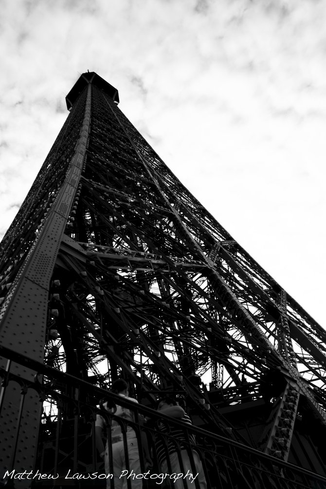 A dramatic view of the famous Eiffel Tower in Paris, France!