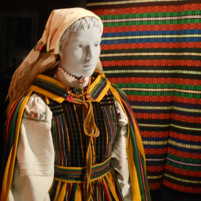 Museum of Ethnography in Poznan (Opoczno region festive folk dress from Brzostow, 1935)