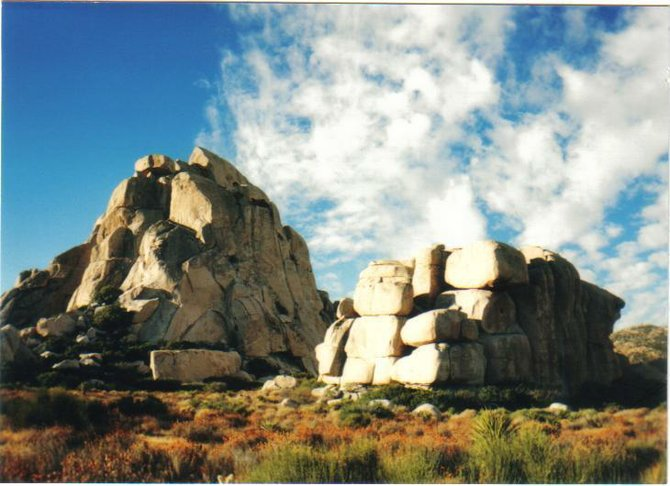 Cool shot of two notable outcrops in the Valley of the Moon.