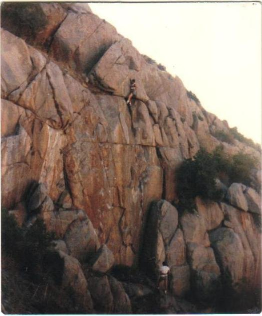 """Shot of two hands tackling """"Apostrophe"""" (5.9) in Mission Gorge... a cool climb which I've done many times, and working through that minor roof or overhang at the top is always a blast!!!"""