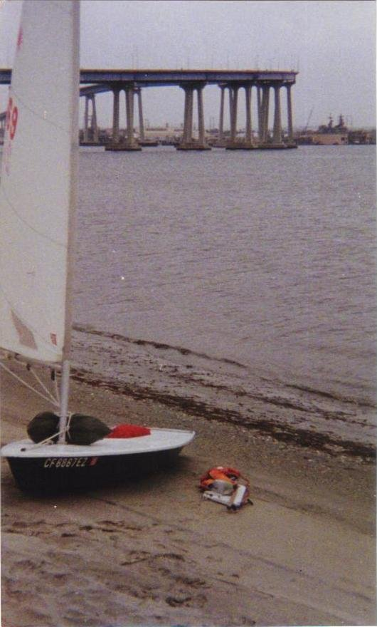"""Shot of Laser #2069 rigged and loaded for my first island voyage, as described in """"LASERIUM"""" (under """"TALES OF ADVENTURE"""" on my profile page). This shot was taken on the beach in the small cove beneath the Coronado Municipal Golf Course Clubhouse... that friggin' dump."""