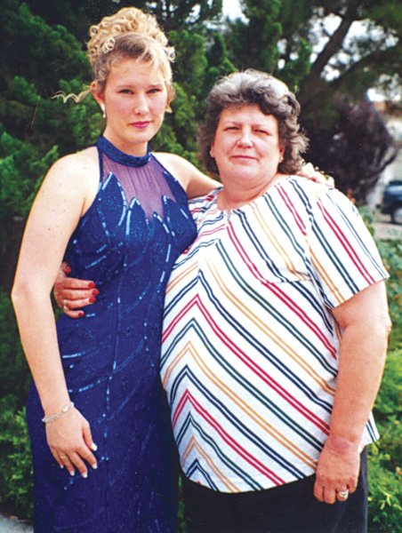Brianna before her 1997 high school  prom, with her grandmother.
