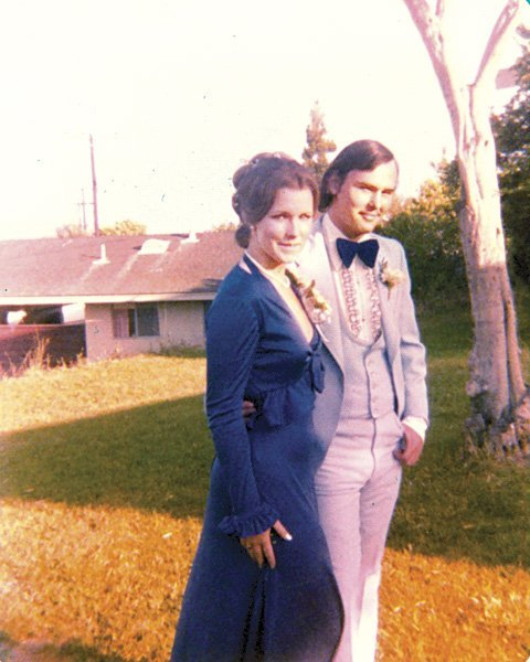 Brianna's parents before the 1975  Mission Bay High School prom.