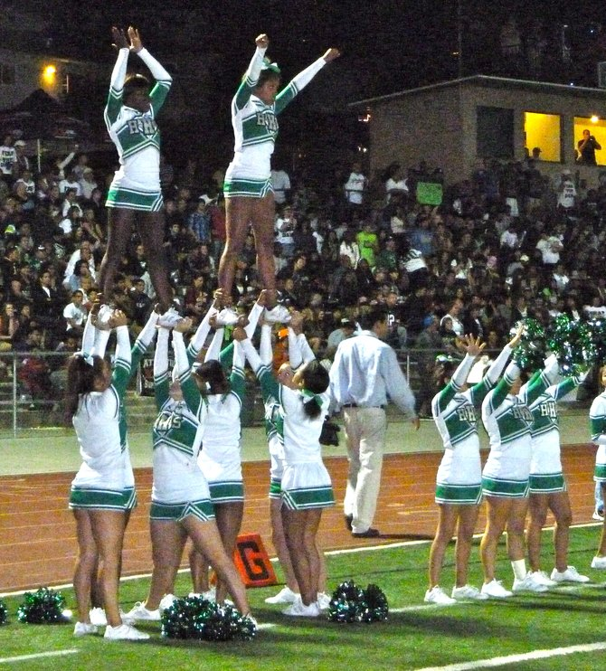 Helix cheerleaders celebrate a Highlanders touchdown