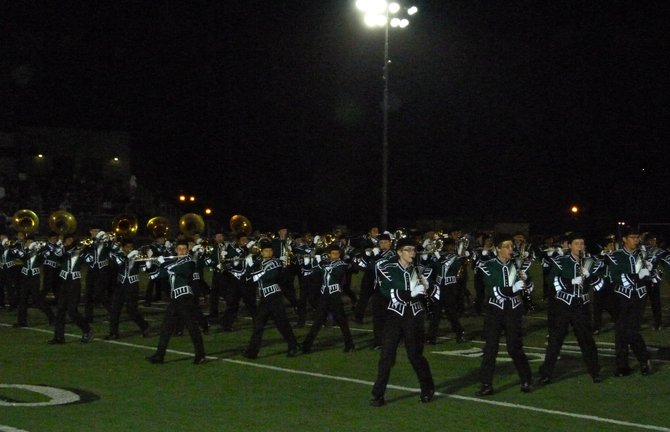 Helix's band performs during halftime of the Eastlake-Helix game