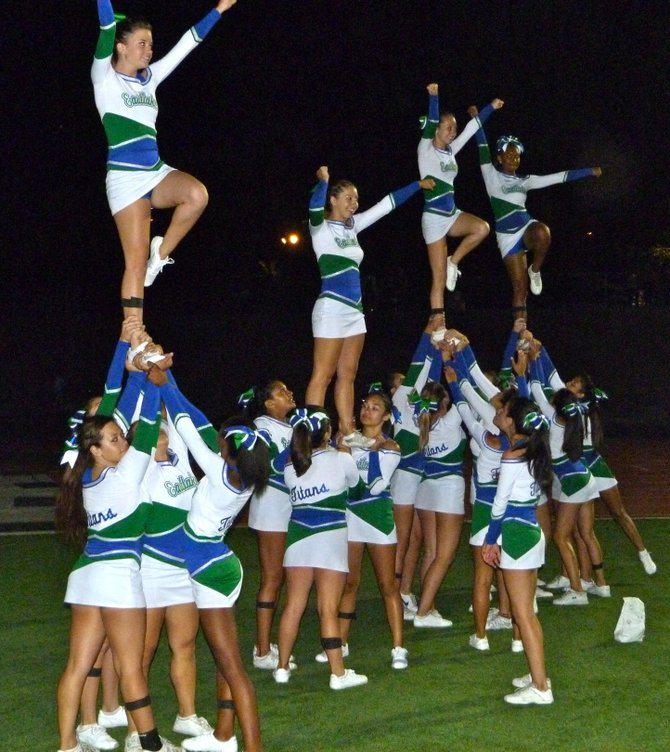 Eastlake cheerleaders celebrate a Titans fourth-quarter touchdown