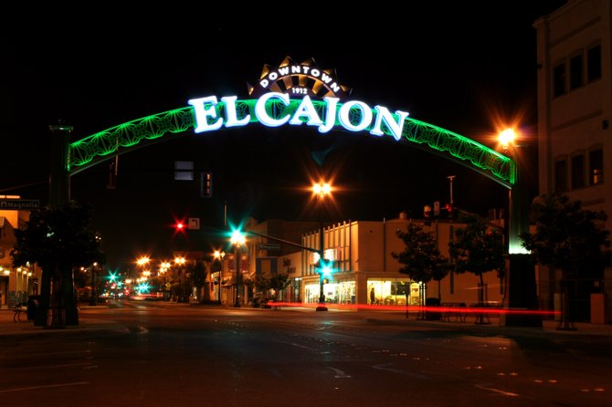 I love going out after dark to take pictures.  The glimmer of lights and movement is fantastic. Standing under the El Cajon sign is a great place to take these kinds of shots.