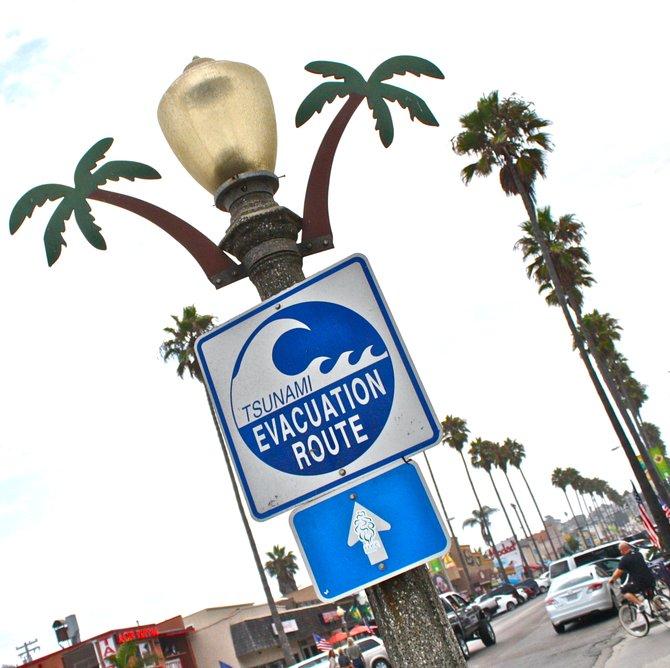 Ocean Beach's cheerful tsunami sign.