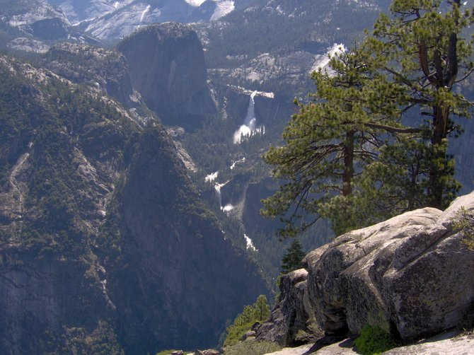 The water flow was so high in June of 2011, that you could see these two falls — Vernal and Nevada Falls from Glacier Point — quite well from so far away.