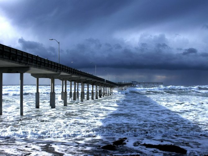 Ocean Beach Pier on a stormy day