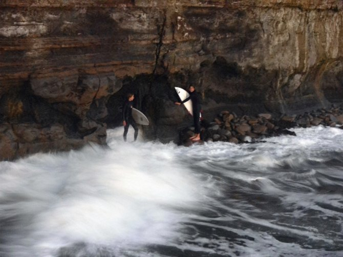 Surfers trapped by high tide at Sunset Cliffs Natural Park