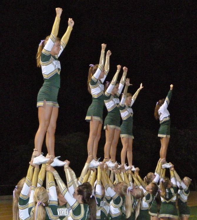 La Costa Canyon cheerleaders celebrate a Mavericks touchdown