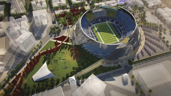 An unsolicited stadium proposal by de bartolo + rimanic design studio inspired by the Chargers' logo. Note the lightning bolt shadows.