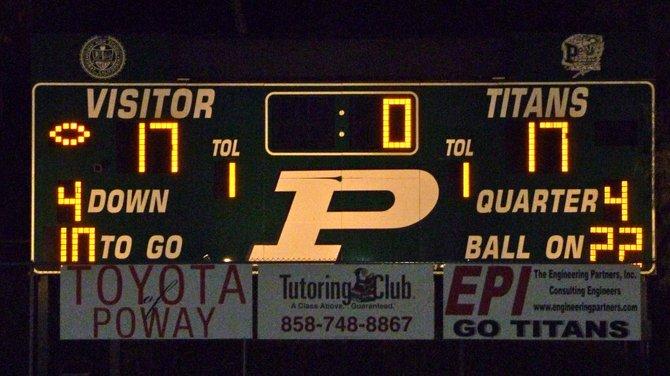 Final Score - Poway 17, San Pasqual 17