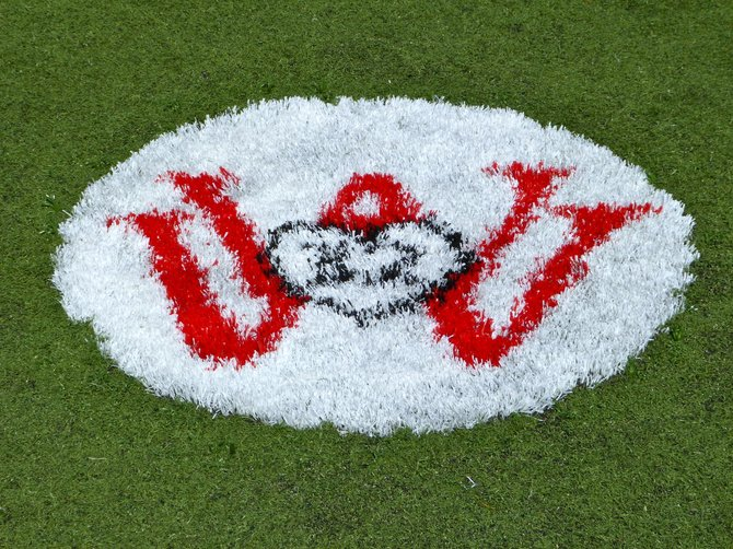 Santa Fe Christian's sideline now features this emblem in remembrance of William Wardrip, a student who died in 2009