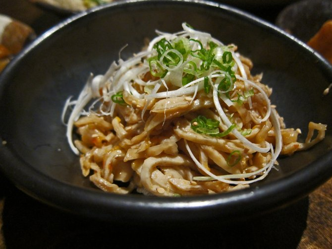 Kawa su: thin-sliced chicken skins