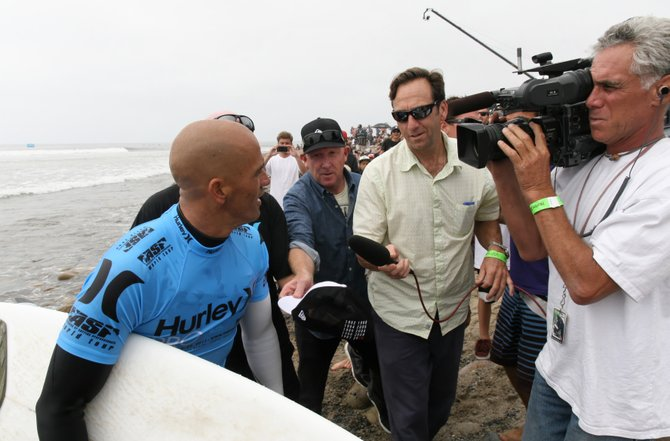 Shaun Styles interviews 10-time world professional Surfer Kelley Slater as he leaves the ocean at Trestles Point after winning the 2011 Hurley Pro.