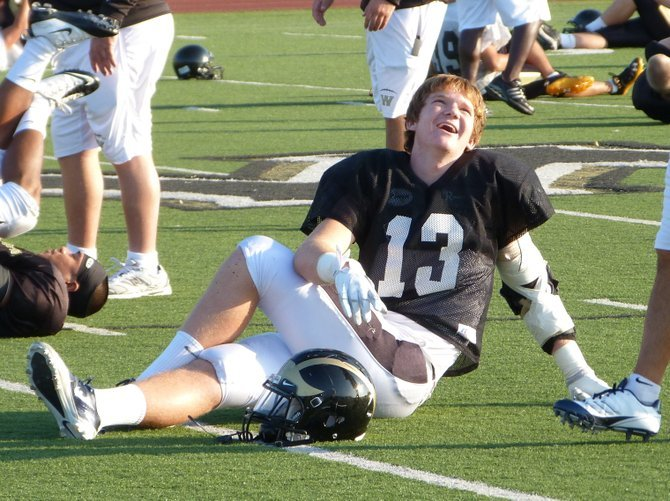 Westview tight end Taylor McNamara has a laugh during practice