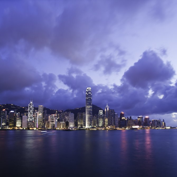 This is a photo of Hong Kong Island's famous skyline, seen from the Avenue of the Stars.