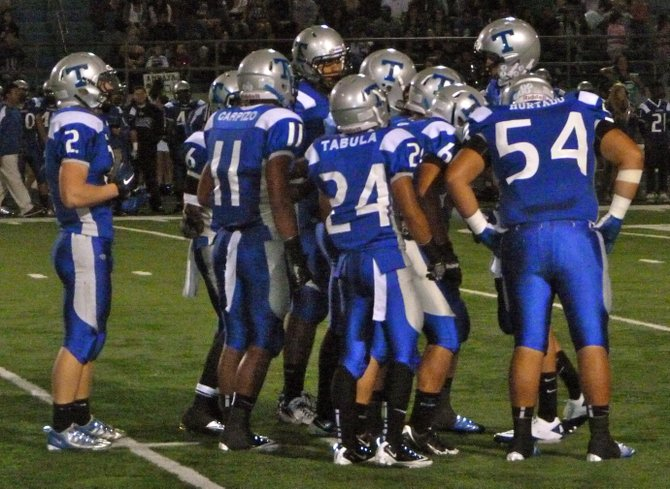 Eastlake in the offensive huddle