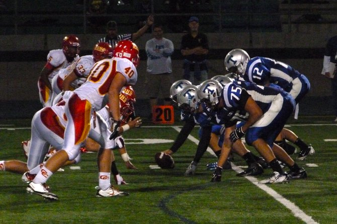 Eastlake's offense lines up against Cathedral Catholic's defense