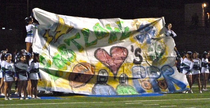 "Eastlake shows KUSI's ""Prep Pigskin Report"" some love with the halftime banner"