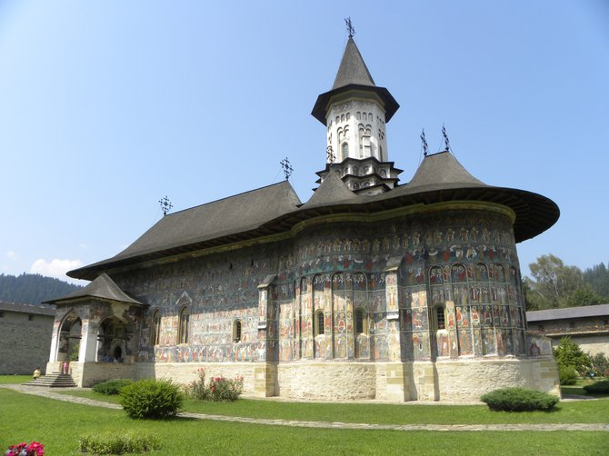 One of the painted monasteries located in Bucovina, Romania, this Sucevita Monastery is a UNESCO World Heritage Site.