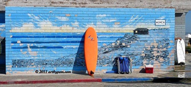 Making a pit stop at Tourmaline Surf Park Beach.