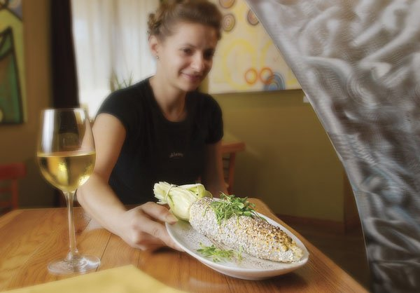 We began with grilled sweet corn on the cob, a huge ear pasted all over with precious black-corn fungus.