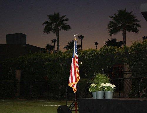 Flag at dusk