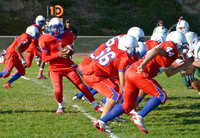 Crawford quarterback Taishon Holloway drops back after the snap