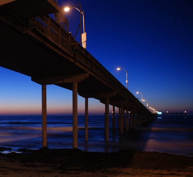 The pier in Ocean Beach at sunset.