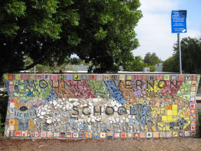 This is the sign in front of Mount Vernon School in Lemon Grove.  From a distance it looks deceptively simple.  Up close, however, it comes alive with mosaic artistry.