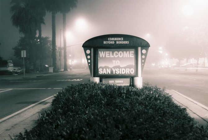 On a foggy night on San Ysidro Blvd. 35mm black and white film