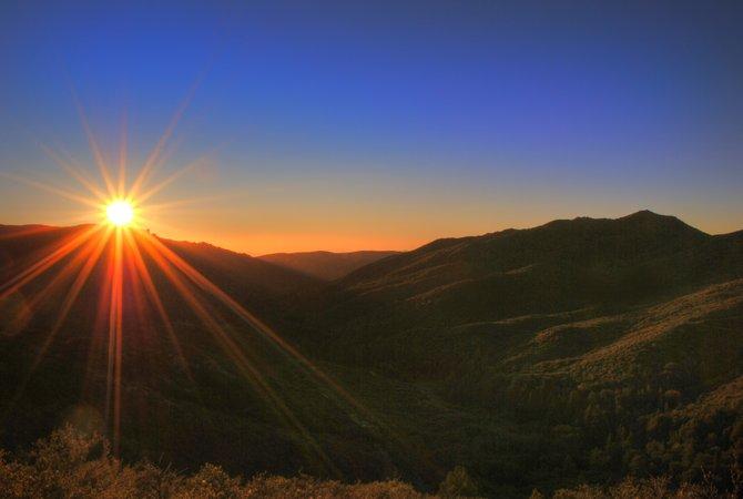 Early morning sunrise over Laguna Mountains
