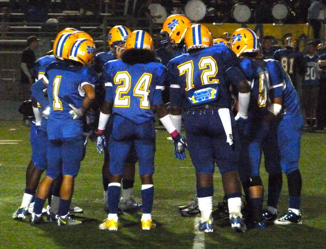 Mira Mesa in the defensive huddle