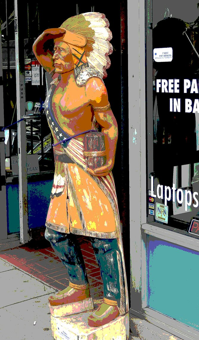 Cigar store Indian outside a store on University Ave. in North Park. I added the posterized effect with Photoshop.