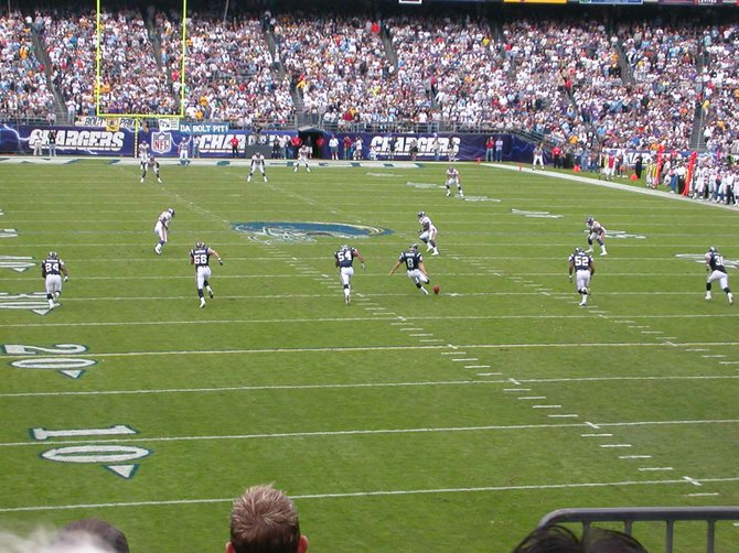 Qualcomm Stadium,  Mission Valley. Kickoff, Chargers vs.  Vikings,  2007.