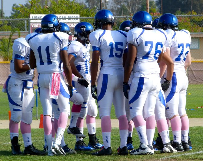 San Diego in the offensive huddle