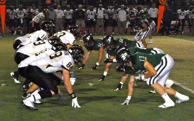 Westview's offense lines up from Poway's defense