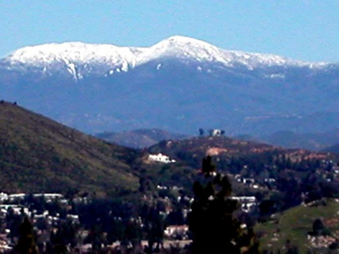 Mountain snow taken from Fletcher Parkway in El Cajon,  2006.