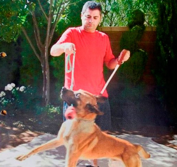 Evidence photo of Steven Afghani with his new dog Elvis.