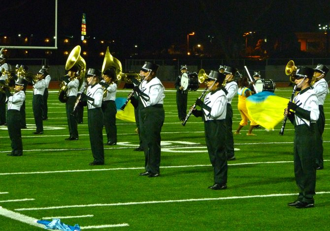 Oceanside's band provided halftime entertainment during the Pirates' game against La Costa Canyon