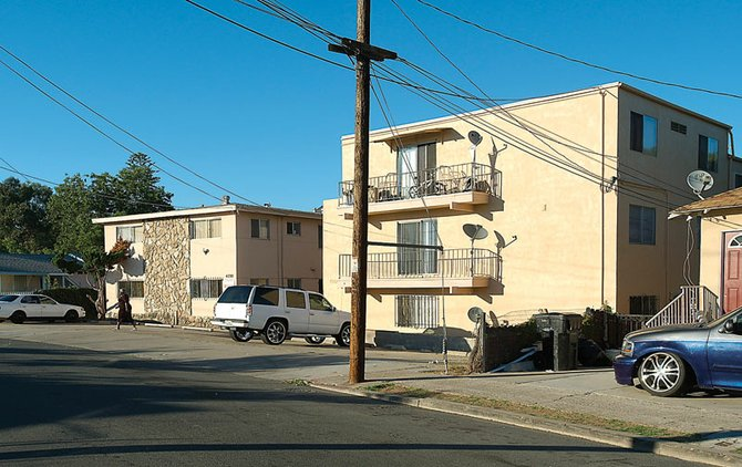 "These apartment buildings on Lantana Drive in City Heights were declared a ""public nuisance property by the Fox Canyon Neighborhood Association."""