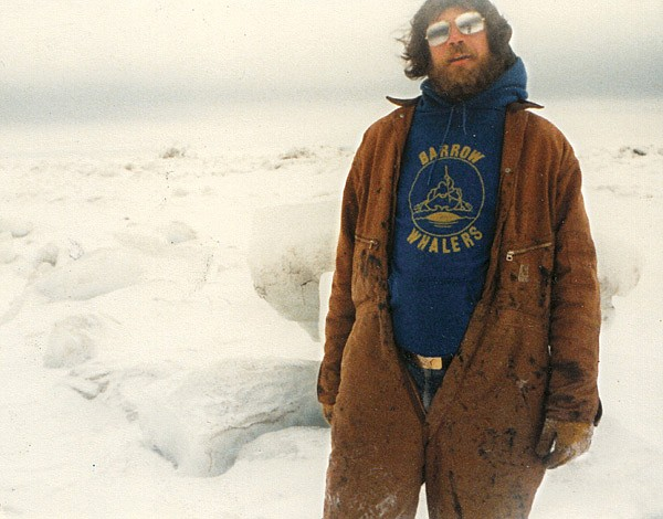 Author Patrick Daugherty at Point Barrow Station in 1983. In winter, the temperature gets down to 30, 40, 50 below zero. One toils at a leisurely pace.