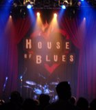 House of Blues lit with blue, downtown.